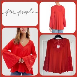 Free People Parisian Nights Top Red